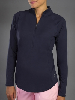JoFit Ladies & Plus Size Brushed Long Sleeve Mock Golf Shirts - Paloma (Midnight)