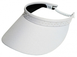 Glove It Ladies Bling Coil Back Golf Visors (w/ Twist Cord) - White Bling Coil
