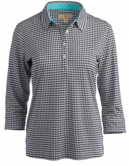 CLEARANCE Sport Haley Ladies Gianna 3/4 Sleeve Houndstooth Golf Shirts - Isle of Capri