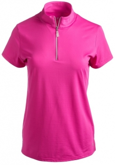 CLEARANCE Bette & Court Ladies and Plus Size Swing Short Sleeve Mock Neck Golf Shirts - Hot Pink