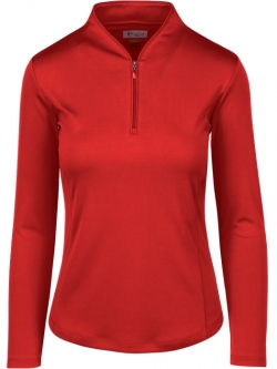 Greg Norman Ladies & Plus Size Zip L/S Tulip Neck Golf Shirts - ESSENTIALS (Assorted) Fall 2018